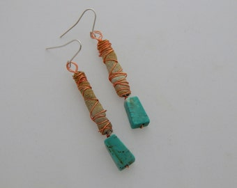 Den Earrings - Handpainted Textile - One of a kind - Featured in Jewelry Affaire Magazine