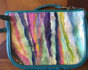 Hand Painted Leather Wristlet