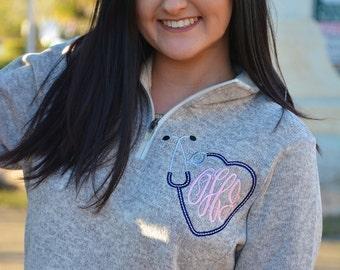 Monogrammed Stethoscope Sweater Fleece Pullover