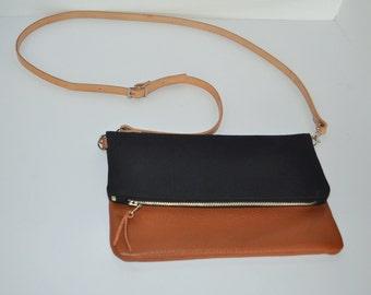 Black and Cognac Crossbody Foldover Clutch, Fold Over Leather Purse Clutch, Black Foldover Clutch, Bag, Cognac Brown Leather