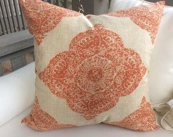 "John Robshaw ""Mani"" in terracotta-woodblock/medallion pillow cover"