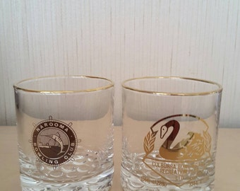 Vintage 1970s Set of 2 Collectible Culburra/NaroomaBowling Club whisky Glasses