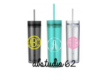 Monogram Tumbler, Personalized Water Bottle, Gifts for Her, Custom Tumbler, Monogram Cup, Skinny Tumbler, Personalized Monogram Tumbler