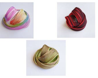 Shibori Ribbon Silk 10 cm Red Green Grey Rainbow