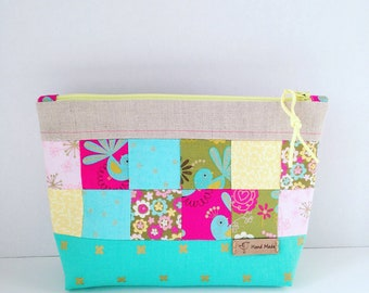 Patchwork Zip Pouch| Make up bag | Phone Pouch