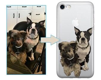 Custom illustrated Dog iPhone Case, Hand Drawn Dogs iPhone Case, Gift for pet owner, Gift for dog lover, Gift for cat lover iPhone 8 case