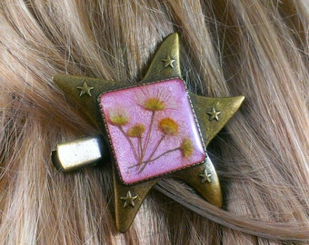 Pink hair jewelry Hair piece Flower girl gift For her Girlfriend gift For wife Head piece Hair accessory Womens gift Gold hair barrette