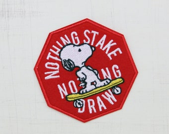 7.3 x 7.5cm, Nothing Stake Nothing Draw Snoopy Iron On Patch (P-032)