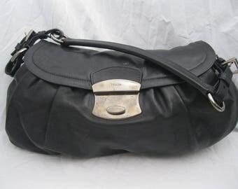 Black Leather Prada Buckle Hobo