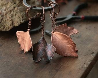 Real leaf keychains, electroformed trinkets, botanical jewelry, gift for him, electroforming,copper electroform,ginkgo leaves,men present,