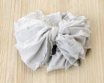 Messy Ruffle Bow Headband - Sterling Gray