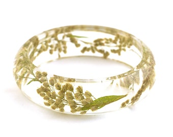 Pressed flower jewelry // Herbarium // Real flowers bangle // Dried little yellow flowers resin bangle bracelet - Ø 6.2cm - 2.44""