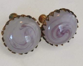 Haskell pink art glass scew/clip earrings