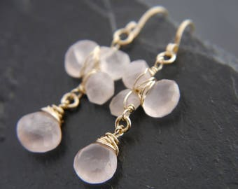 Rose Quartz, Gold Filled Earrings, Teardrop Earrings, Wire Wrapped Earrings, Flower Earrings, Petal Earrings, Wedding, Bridesmaid Gift, Boho