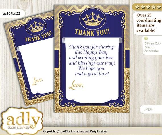 Royal Prince Thank You Card Printable For Baby Royal Shower Or