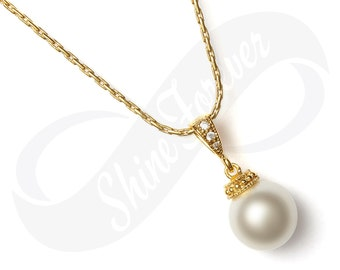 Bridesmaid Jewlery Bridal Pearl Gold Necklace CZ Swarovski Crystal White Pearl Bridesmaid Necklace Wedding Bridal Jewelry Bridesmaid Gift