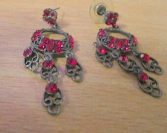 """vintage dark metal dangling earrings 2""""drop lots of deep red shimmering stones"""