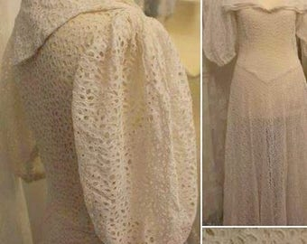 Elegant and Ethereal 1930s White Cotton Eyelet Summer Dress with Sailor Collar!