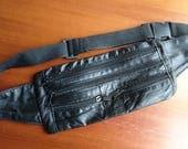 Vintage hip bag, leather fanny pack, leather hip bag, leather bum bag, leather waist bag, black hip bag, black fanny pack, black waist bag