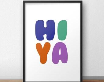 Hi ya nursery play room wall art print in rainbow colours