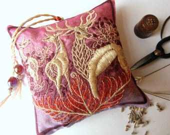 Embroidered, FOREST HART, Lavender Bag, Deer, Stag, Woodland, gift for Host, Birthday, Christmas, Thanksgiving