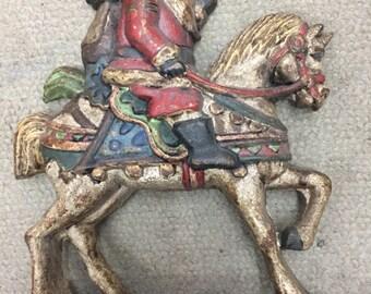 Antique Door Stop Cast Iron Santa Riding Horse Doorstops