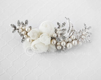 Bridal Hair Flower ivory with Pearls and Rhinestone Leaves in Silver Wedding Hair Piece Accessory