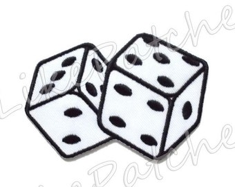 White Dice New Sew / Iron On Patch Embroidered Applique Size 8.7cm.x5.8cm.