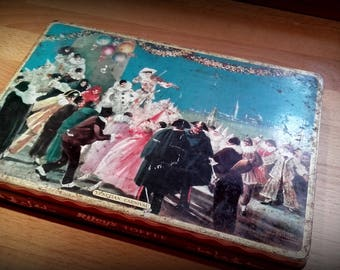 Riley's rustic 1950's vintage litho toffee tin ''Venetian Carnival''