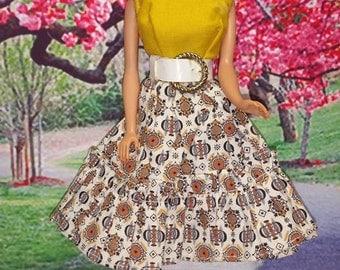 Yellow Print Barbie Clone Dress 1960's