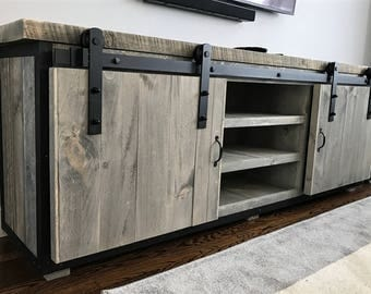 rustic industrial barn board entertainment center tv stand. Black Bedroom Furniture Sets. Home Design Ideas