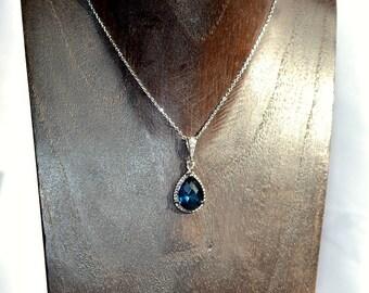 Sapphire bridal necklace, Swarovski bridal necklace, bridesmaid necklace