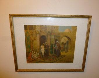 Orientalist polychrome print of Arab men women scene signed 1920