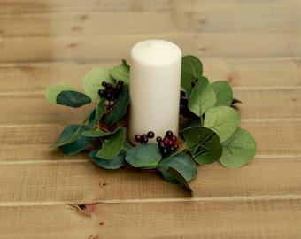 Silk Eucalyptus and Plum Berries Candle Wedding Centerpiece Ring