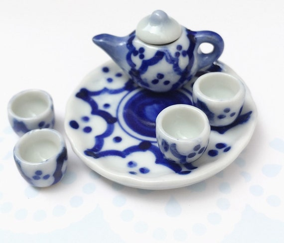 Miniature Tea Set,Miniature Chinese Tea Set,Miniature Drink,Dollhouse Tea set, Miniature Tea Pot with 4 cup Set,Miniature Food,Gifts idea