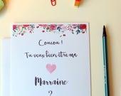 Carte Fleurs pour choisir la marraine - le parrain - Carte pour demander - Tu veux bien être ma marraine / mon parrain - Fleurs - Roses