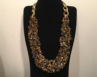 Tigers Eye Nugget Statement Necklace