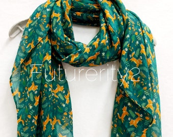 Woodland Fox Green scarf / Spring Summer Scarf / Autumn Scarf / Gifts For Her / Women Scarves / Handmade / Accessories / Christmas Gift