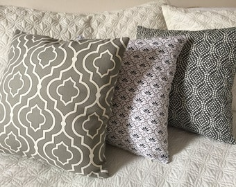 DECORATIVE PILLOW-Waverly Grey Patterns with zipper enclosure (W)