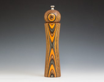 """Colorful, Handmade 10"""" Peppermill - Laminated orange, brown and charcoal"""