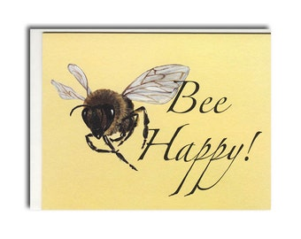 Bee Happy Notecards - Honey Bee Cards - Bee Stationary