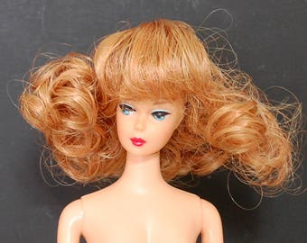 "Doll Wig 4 1/2"" Mini Ginny Curls Bangs Strawberry Blonde Fits Barbie Kish BJD"
