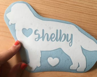 Personalized Bernese Mountain Dog, decal, dog car decal, heart with name, various sizes, dog name decal, lap top decal