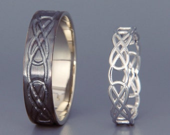 14K Black and Bright White Gold Celtic Knot Wedding Rings Set | Handmade 14k white gold Celtic wedding Rings |His and Hers Wedding Bands Set