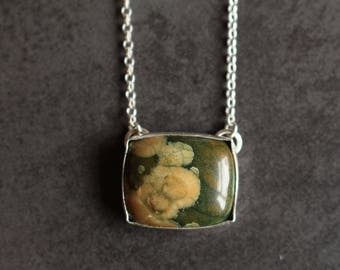 Rainforest Jasper Necklace/Rhyolite Necklace/Oriental Blossom Necklace/Textile Styled Necklace/One of a kind/Green and Peach/Hallmarked