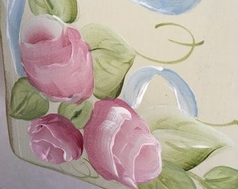 Beautiful  - hand painted salt box & spoon holder. Shabby chic roses, cabbage roses