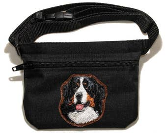 Bernese Mountain Dog embroidered dog treat bag / dog treat pouch with belt. For dog shows, training and walking. Great gift for dog lovers.