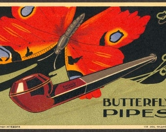 C. 1920 Advertising Postcard, Butterfly Pipes