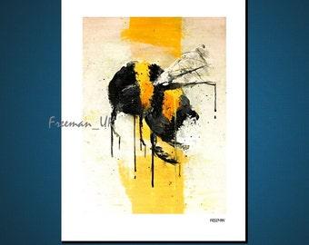 Bumble Bee Modern art greetings card