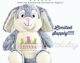 Easter Bunny Cubbie, Peep easter bunny, personalized bunny, embroidered bunny, Grey bunny